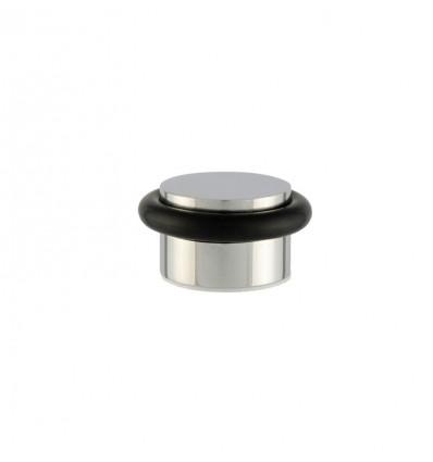 Tope de puerta adhesivo acero inoxidable (I-140)- Goma negra , Acabado brillo inoxidable