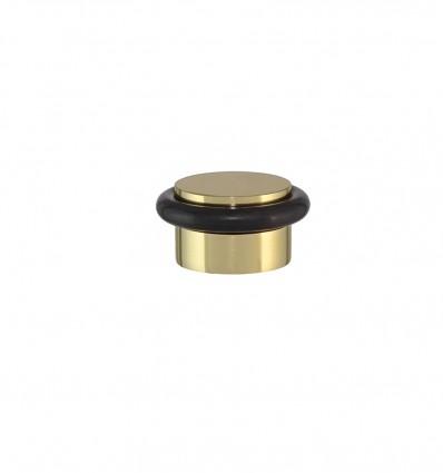 Tope de puerta adhesivo latón -brillo con goma negra(I-103)